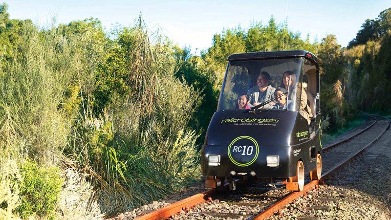 Hop aboard your own self-drive railway car and enjoy epic 360-degree views of Lake Rotorua and rolling farmland...