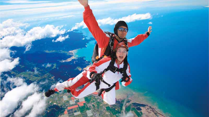 Enjoy a panoramic flight with stunning views as you climb to 13,000ft over snow-capped mountains, golden beaches and turquoise oceans then... JUMP!