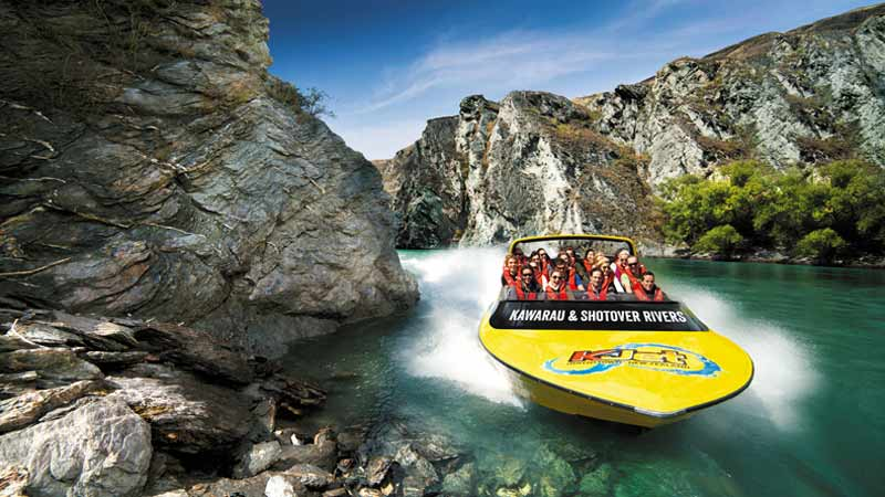 Step off Queenstown's Main Town Pier and onto a big yellow KJet boat for an unforgettable Jet boating experience...