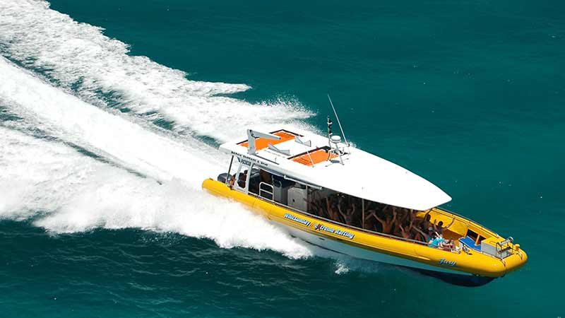Explore Whitehaven Beach, Hill Inlet's swirling sands and enjoy island reef snorkelling at one of the many stunning coral reefs around the Whitsunday Islands on-board Big Fury!