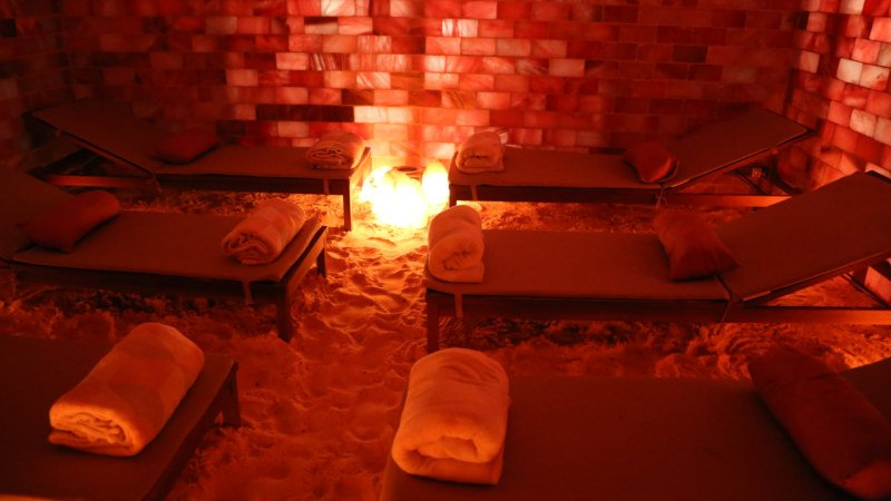 Step into an oasis of calm and well-being as you indulge in a Vibrosaun & Salt Cave Halotherapy pamper experience...