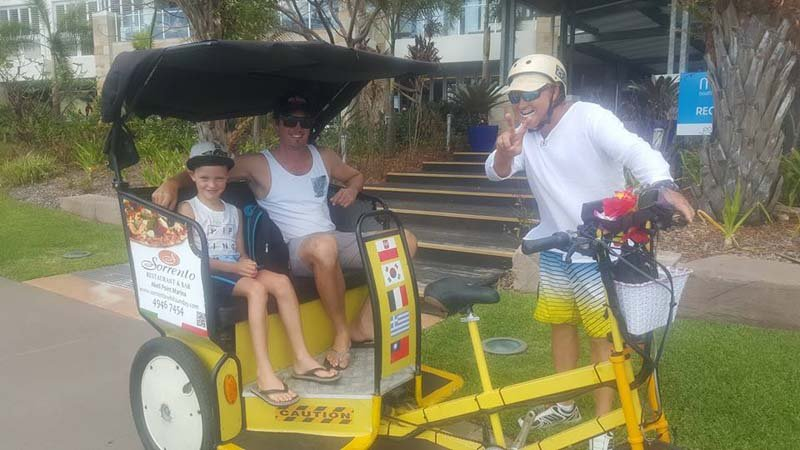 Take a fun and fascinating Tuk Tuk tour of Airlie Beach and indulge in a mouth watering dinner with Just Tuk'n Around Pedicabs!