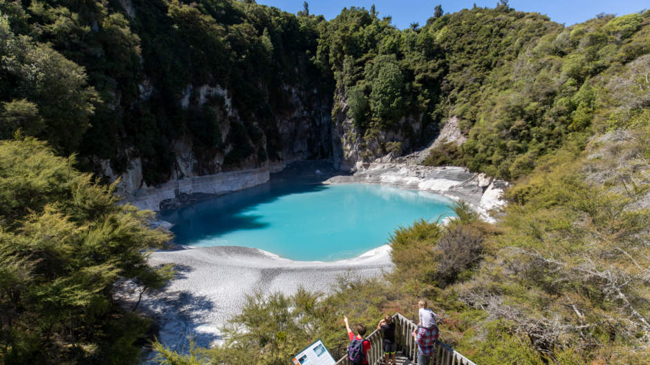 Explore the raw beauty of the World's Youngest Geothermal Valley by foot and on the waters of Lake Rotomahana, the home of the lost Pink and White Terraces...